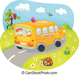 Schoolbus - vector illustration of a cute schoolbus