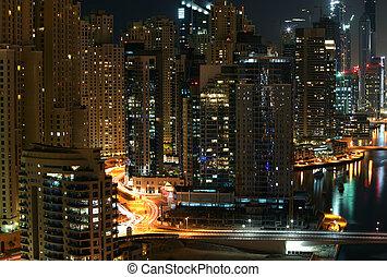 City at night time. Dubai