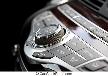 Car radio controls - Close up shot of luxury car audio...