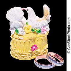 wedding ring box with two pigeons - wedding ring box with...