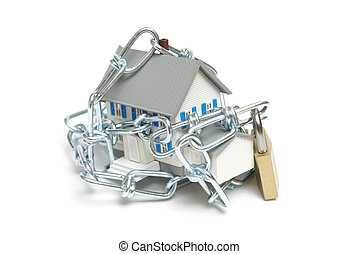 Home Security - A house is wrapped with a chain and padlock...