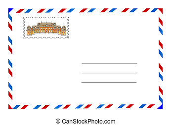 envelope and postage stamp vector