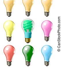Colorful Lightbulbs - Multi colored screw based tungsten...