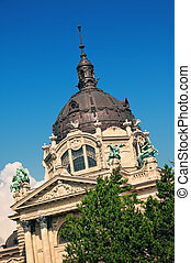 The decorative cupola of the famous Szechenyi Termal Bath in...