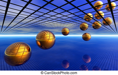 Orbs and cage surreal landscape - Golden orbs travel over...
