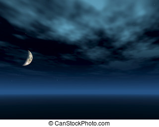 Night Sky Crescent Moon - Dark night sky with white clouds...