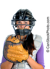 Female Softball Catcher - Closeup of a female softball...