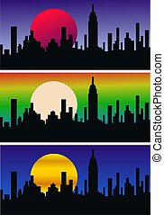city skyline - three different headers of a city skyline