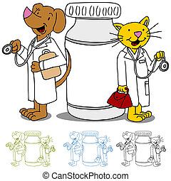 Pet Doctors with Medication - An image of cat and dog...