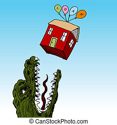 Monster Loan - An image of a house floating above a hungry...