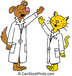 Pet Doctors Arms Raised - An image of cat and dog doctors...