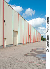industrial warehouse - large industrial warehouse covered...