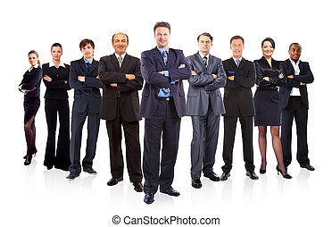 business team formed of young businessmen and businesswomen...