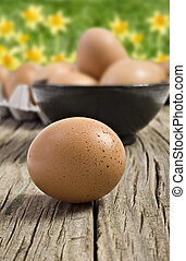 Fresh farm eggs ready to be cooked - Fresh healthy farm eggs...