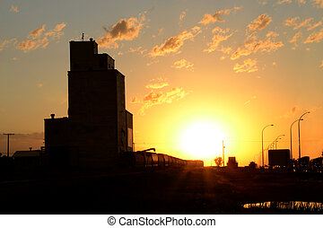 Saskatchewan Sunset and Elevator - A Saskatchewan Sunset at...