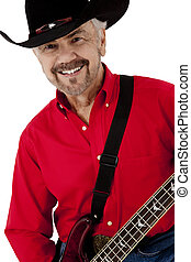 Attractive Happy Elderly Man with Electric Bass Guitar and Cowboy
