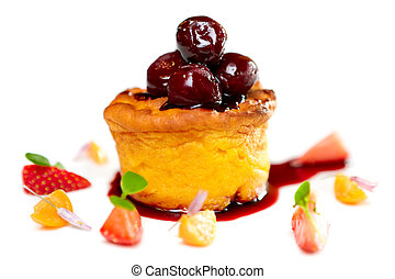 Cake with cherry - Sweet cake with cherries on top and...