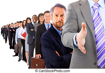 business man with an open hand ready to seal a deal