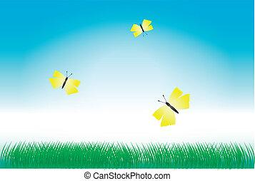 Green grass and yellow butterflies