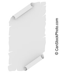 Blank sheet of paper with uneven edges disposed by vertical...