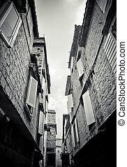 Narrow street in Trogir, Croatia