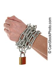 Hands, Chain and Lock - Hands with chain wrapped around them...
