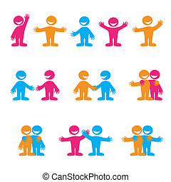 signs-people - Set of icons - communication. Greetings,...