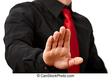 Stop - Business man saying stop In a white background