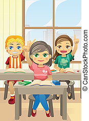 Kids in classroom - A vector illustration of kids in...