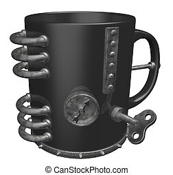 mug - metal mug on white background - 3d illustration