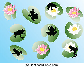 frogs on flowers - vector