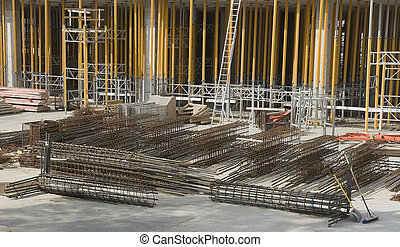 steel rods on construction site