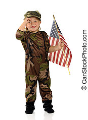 Happy Salute - A pretty preschool soldier happily solutes...