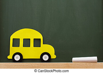 School Days - A school bus and chalk on a chalkboard with...