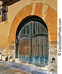 old town of Tarragona, Spain - ancient front door in a house...
