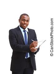 homem, escrita, cheque