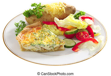 Plate of Quiche with baked potato