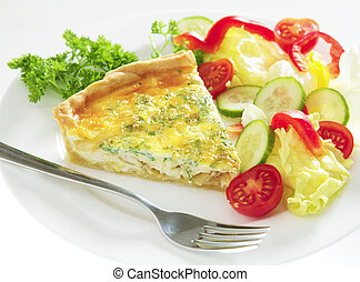 Cheese quiche horizontal with salad
