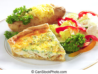 Quiche with baked potato