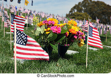 Flaggen, amerikanische, friedhof,  national