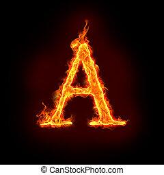 火, アルファベット, a