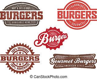 clássicas, estilo, hambúrguer, selos