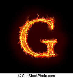 fire alphabets, G - fire alphabets in flame, letter G