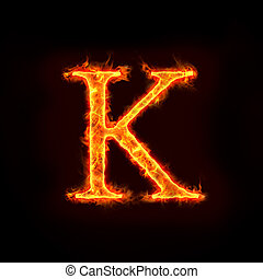 fire alphabets, K - fire alphabets in flame, letter K