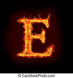 fire alphabets, E - fire alphabets in flame, letter E