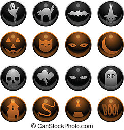 16 Halloween icons - Set of 16 glossy Halloween decoration...