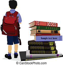 Schoolboy and books