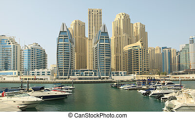 Town scape at summer Dubai Marina