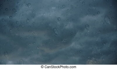 Storm cloudscape with water drops