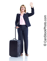 Business woman - Smiling business woman with suitcase....